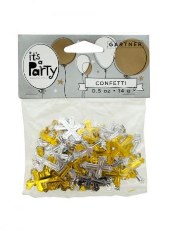 Bulk Buys PB454 Gold And Silver Crosses Confetti (Pack of 24)